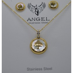 GOLD PLATTED STAINLESS STEEL SET NECKLACE-EARINGS WITH GOLD TREE OF LIFE AND IVORY AND ZIRCON