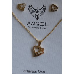 GOLD PLATTED STAINLESS STEEL SET NECKLACE-EARRINGS WITH HEARTS AND IVORY