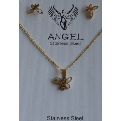 GOLD PLATTED STAINLESS STEEL SET NECKLACE-EARRINGS WITH SILVER BUTTERFLY AND IVORY
