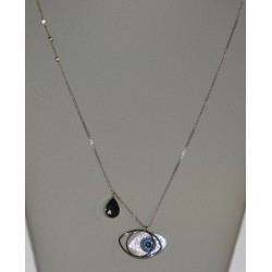 STEEL NECKLACES IN SILVER WITH ZIRCON AND BLACK STONE
