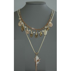 LONG NECKLACE GOLD WITH SHELLS NICKEL FREE, CADMIUM FREE AND LEAD FREE