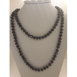 EXTRA LONG NECKLACE WITH BLACK CRYSTALS
