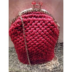 EVENING KNITTED HANDMADE BORDEAUX POSTMAN'S HANDBAG (VINTAGE)