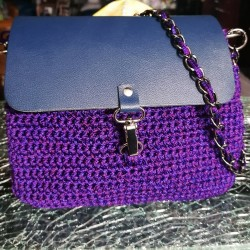 Handmade Knitted Purple - Blue Bag