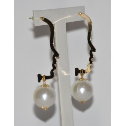 EARRING GOLD PLATED PROFILE WITH PERLA