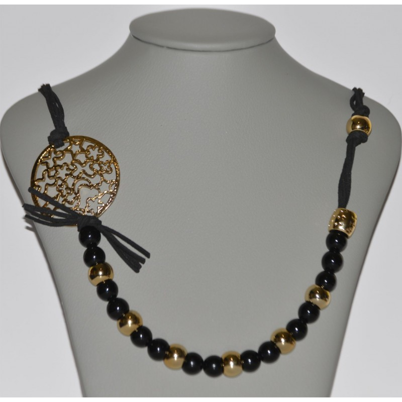 24f6892e26 HANDMADE NECKLACE WITH SWEET BLACK CORDS AND GOLD AND BLACK DETAILS -TOTAL  LENGTH 93cm