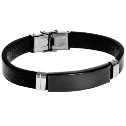 BRACELET SENZA MEN'S STEEL LEATHER STRAP