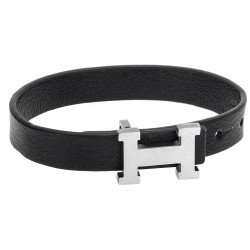 BLACK/SILVER STALENESS STEEL - LEATHER SENZA MAN'S BRACELET
