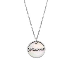 "NECKLACE STAINLESS STEEL RHODIUM PLATED WITH MOTIF ""MAMA"" IN IVORY"