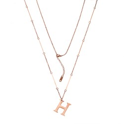 SENZA STAINLESS STEEL NECKLACE ROSE GOLD PLATED TYPE HERMES