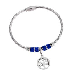 SENZA STAINLESS STEEL BRACELET RHODIUM PLATED WITH BLUE ZIRCON AND MOTIF LIFE TREE